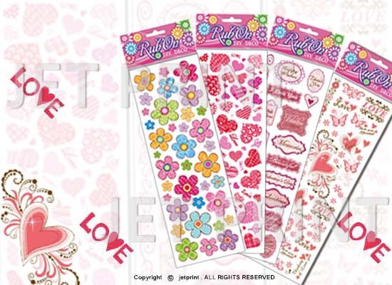 感壓貼紙, 刮刮貼紙, 金蔥, 花, 蝴蝶, 愛心, LOVE, 花邊,