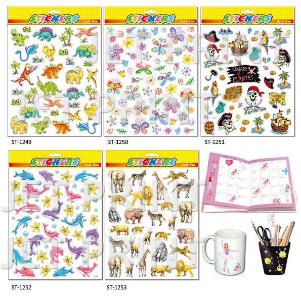 PVC, PVC 貼紙, 恐龍, 蝴蝶, 海盜, 海豚, 斑馬, 獅子, 鹿, 猴子